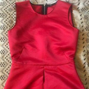 Zara Basics Red Silky Shell Top S